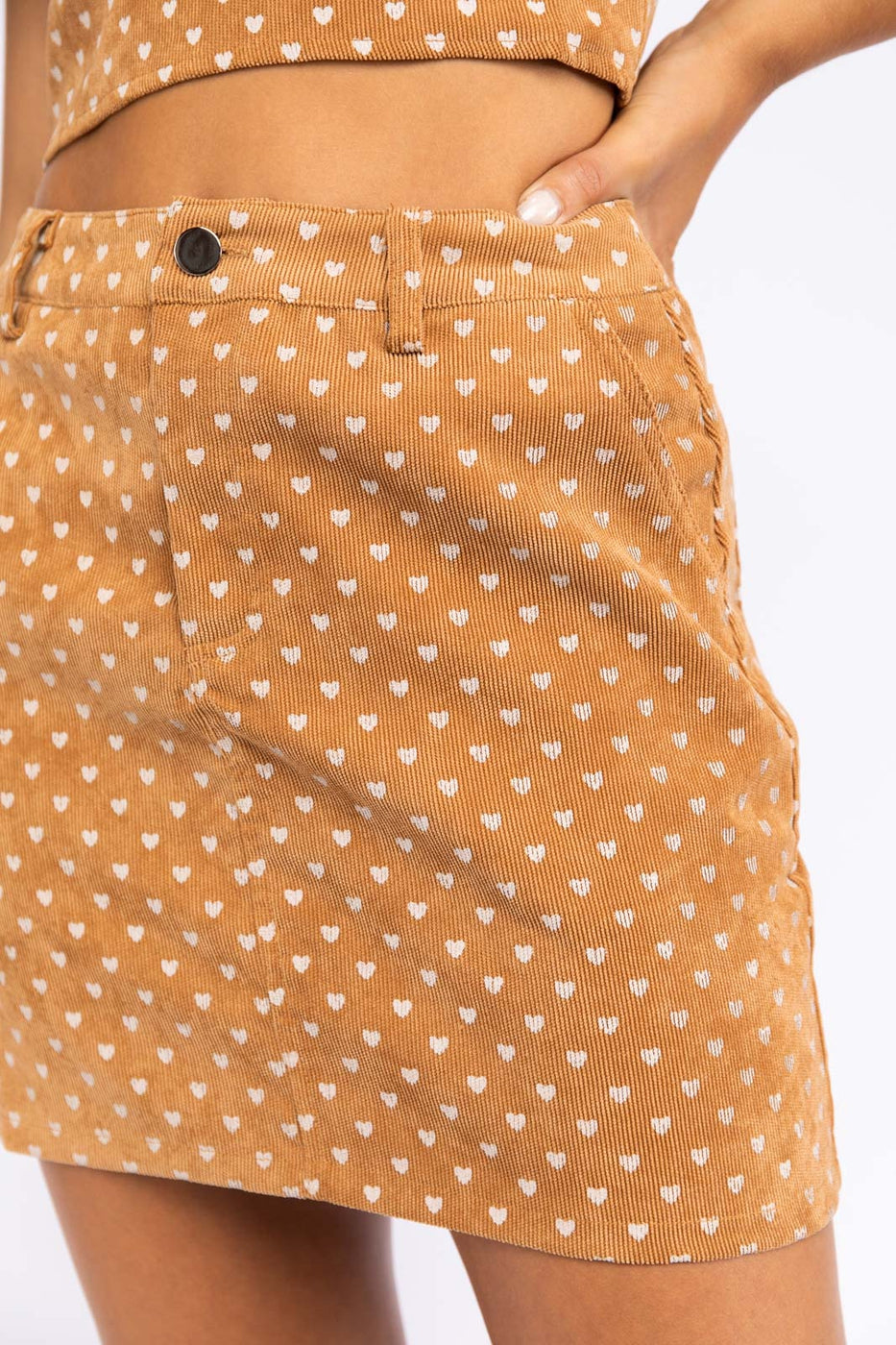 Polka Dot Mini Skirt With Back Pockets In Tan Siin Bees