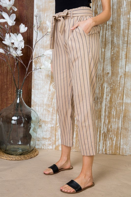 Taupe Waist Tie Front Striped Print Midi Pants with Pocket Siin Bees