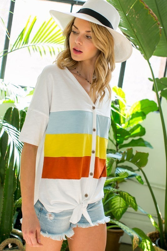 Short Sleeve Button Down Front Tie Color Block Top Siin Bees
