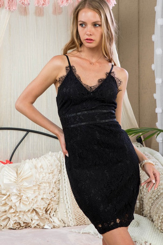 Alice Scallop Lace Detail Waist Satin Tape With Hidden Back Zipper Bodycon Lace Dress Siin Bees