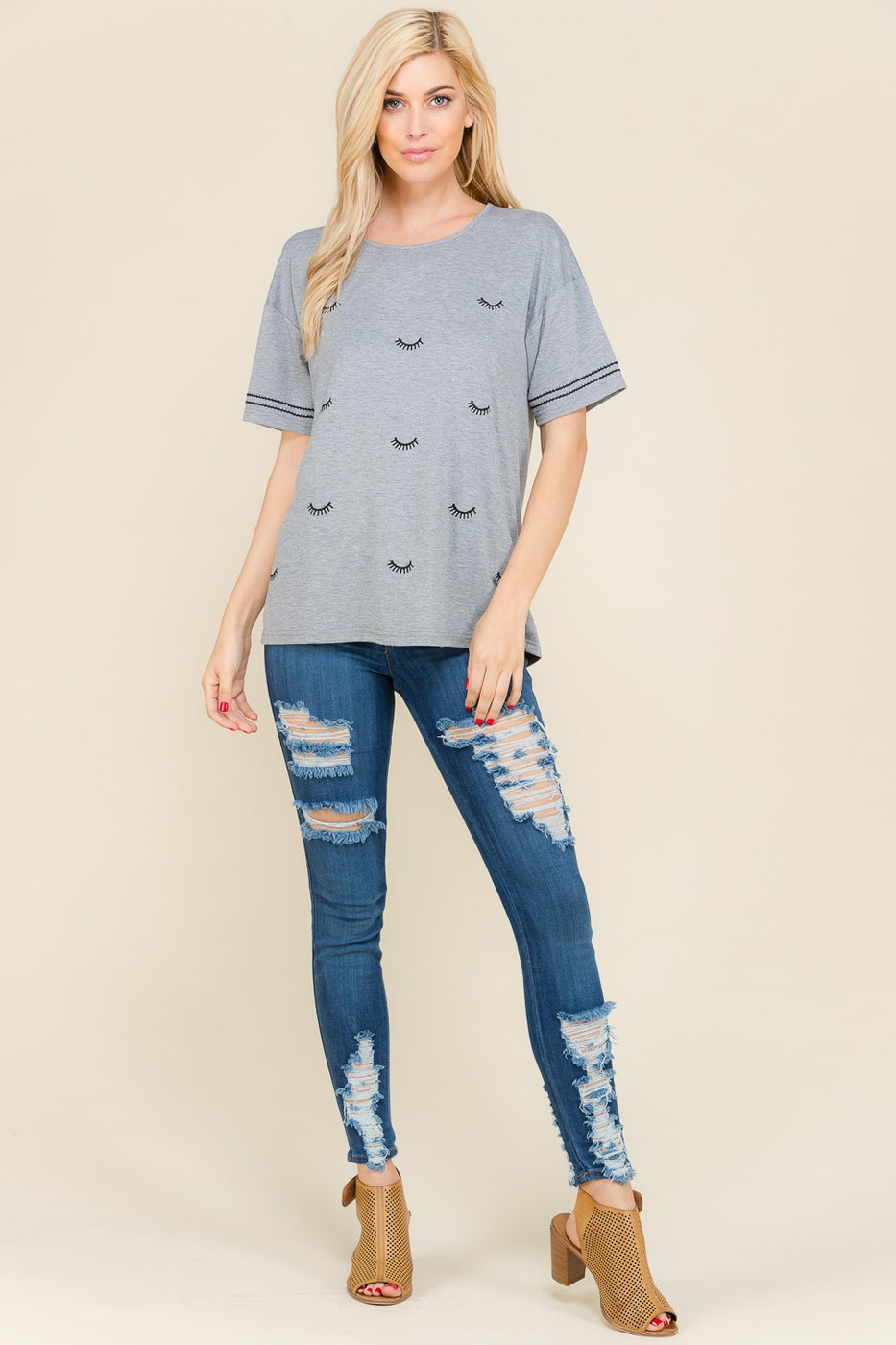 Grey Short Sleeve Top Eyelash Embroider Siin Bees