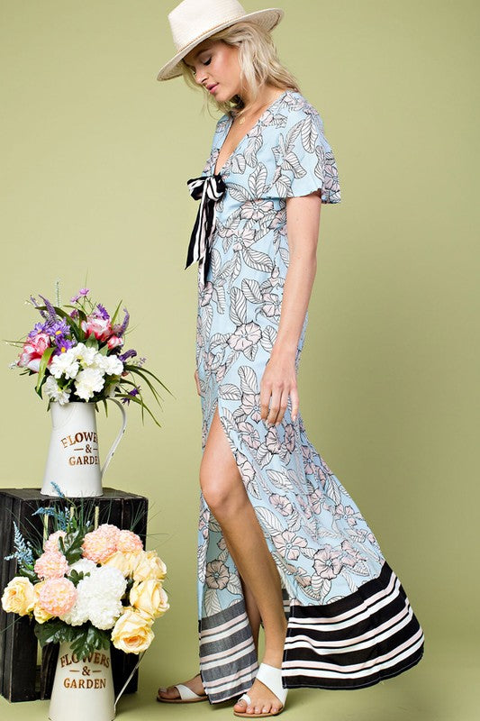 Floral Print Stripe Print Detail Color Block Sleeve Dress With Tie Front Siin Bees
