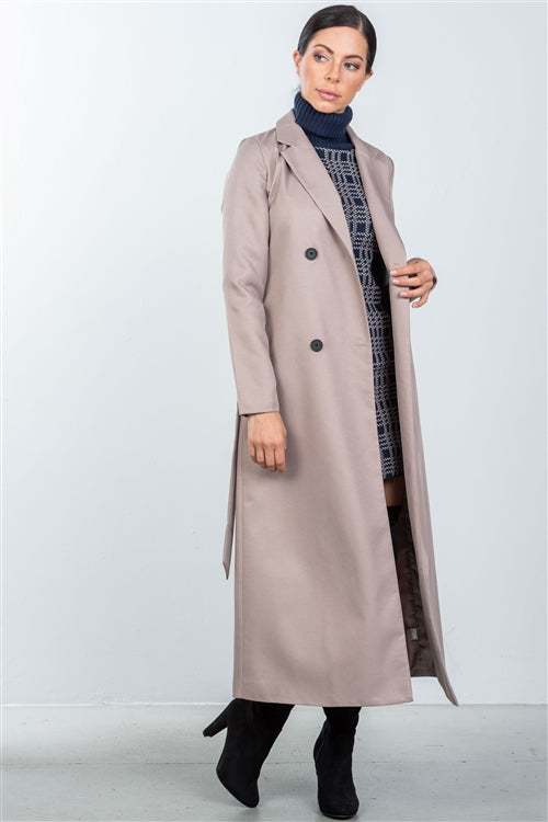 Elegant Taupe Belted Longline Coat - Siin Bees