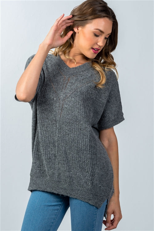 One Size Dropped Shoulder Loose Grey Short Sleeve Sweater - Siin Bees