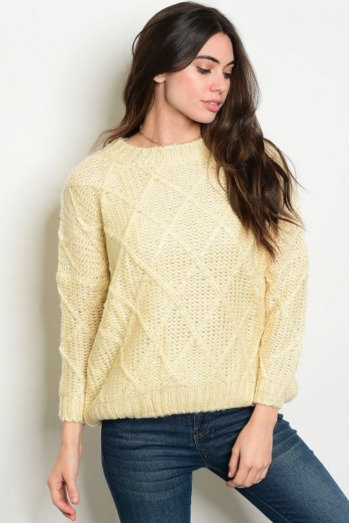 Ivory Knit Crew Neck Sweater Siin Bees