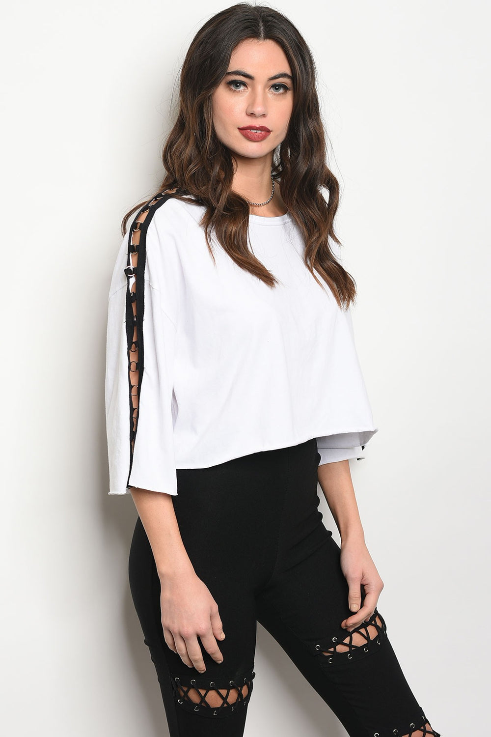 3/4 Sleeve White Black Crop Top Siin Bees