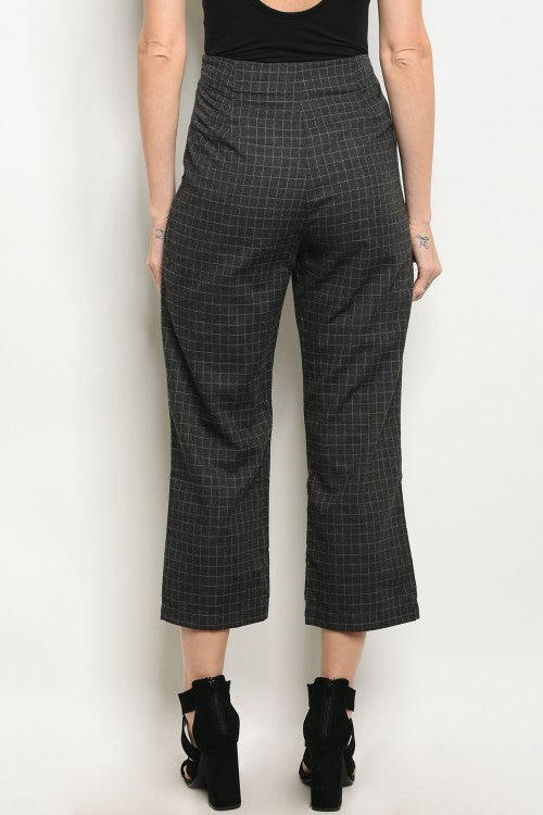 Fitted Charcoal Checkers Women Pants Siin Bees