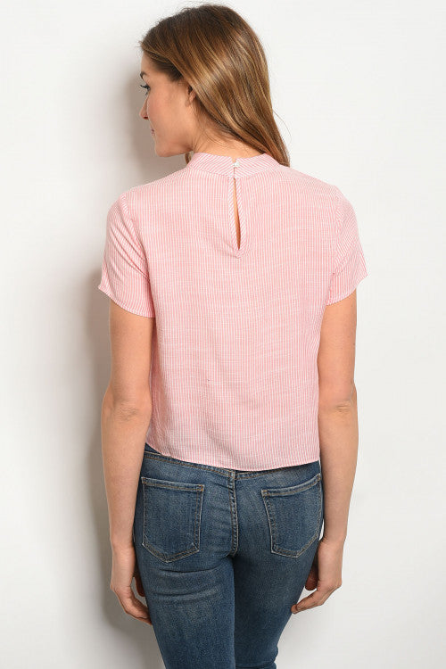 Adorable Pink White Stripes Casual Top Siin Bees