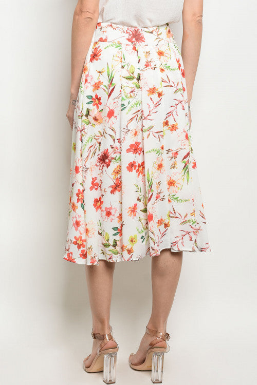 Off White Floral Print Midi Skirt - Siin Bees