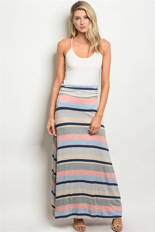 Coral Blue Grey Pink Stripes Maxi Skirt Siin Bees