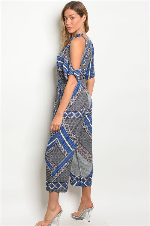 Blue White Pattern Jumpsuit Siin Bees