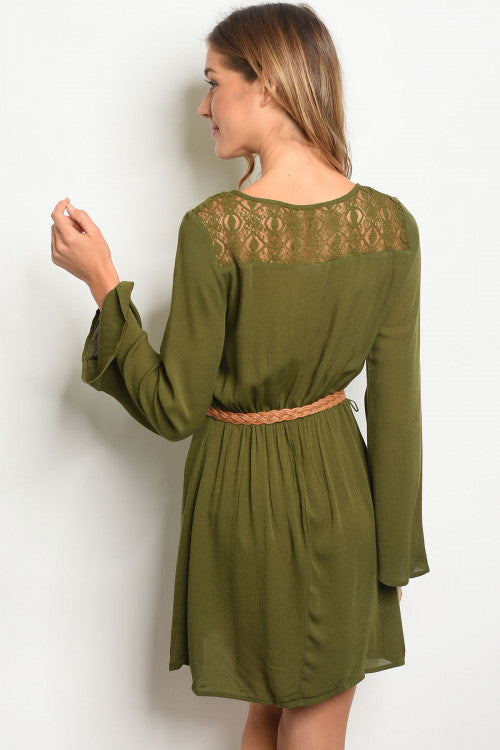 Alicia Olive/green Belted Tunic Dress - Lace Up Details Siin Bees