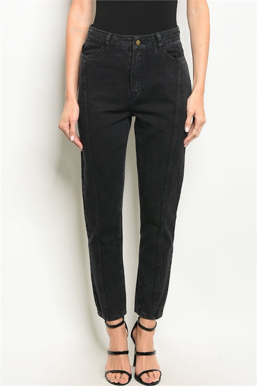 Ladies Classic Straight Zip Fly Black Jeans Siin Bees