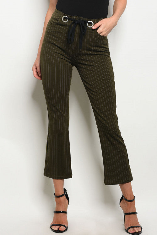 Olive Stripes Fitted Pants Siin Bees