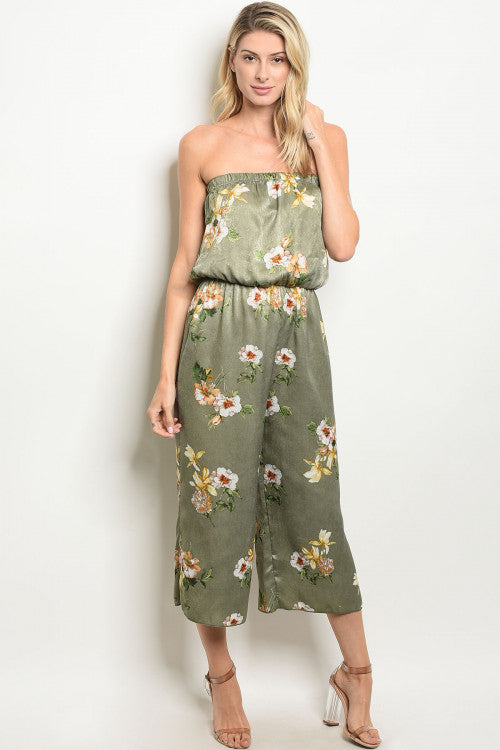 Tube Top Sage Floral Jumpsuit Siin Bees