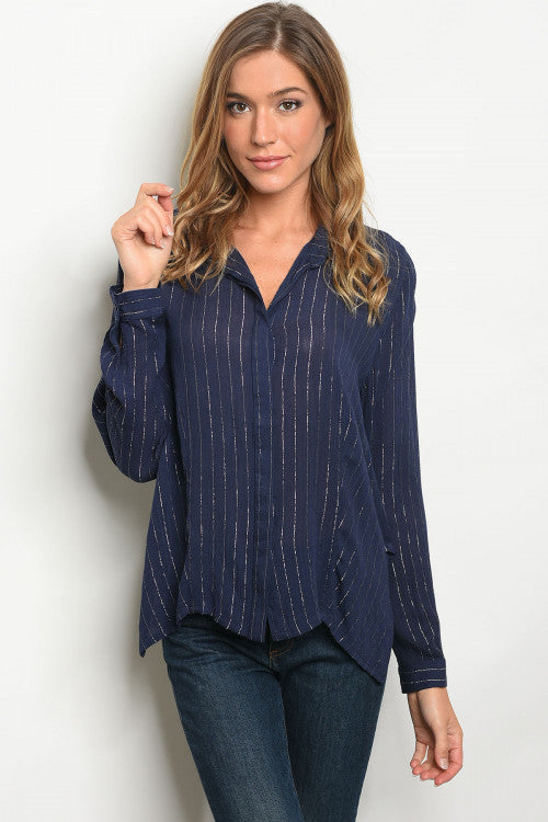 Navy Silver V-neck Relaxed Fit Blouse Siin Bees