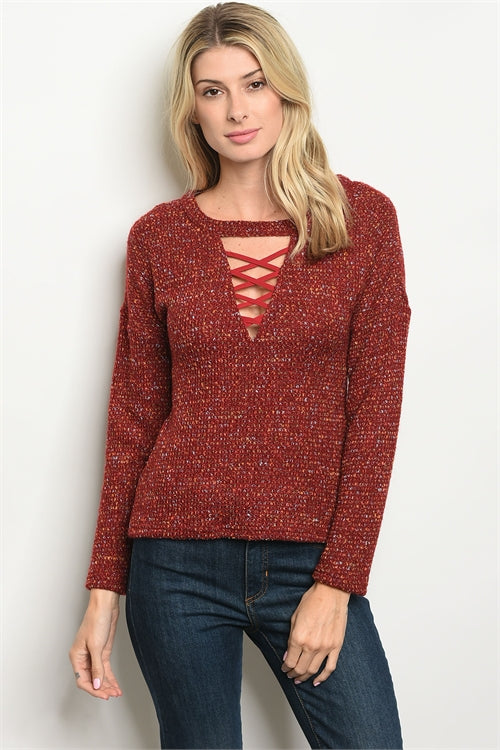 Stylish Lace Up Sweater Siin Bees
