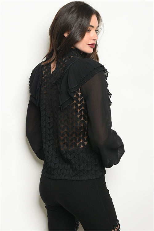 Gorgeous Long Sleeve See Through Black Blouse - Siin Bees