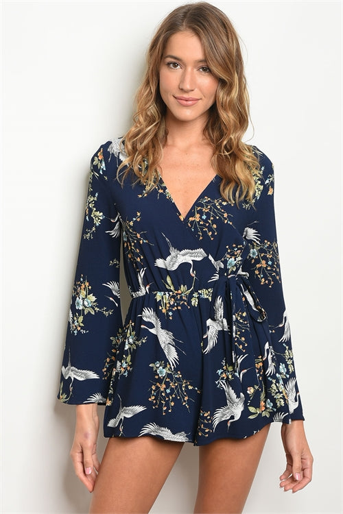 Flying Birds Navy Floral Romper Siin Bees