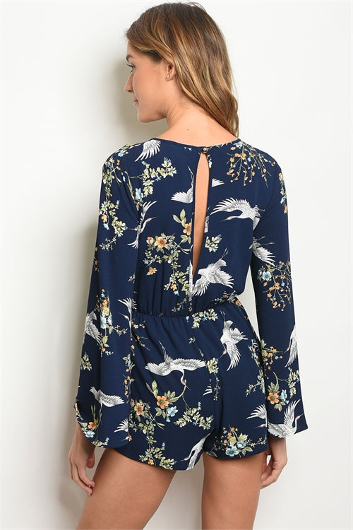 Flying Birds Navy Floral Romper - Siin Bees