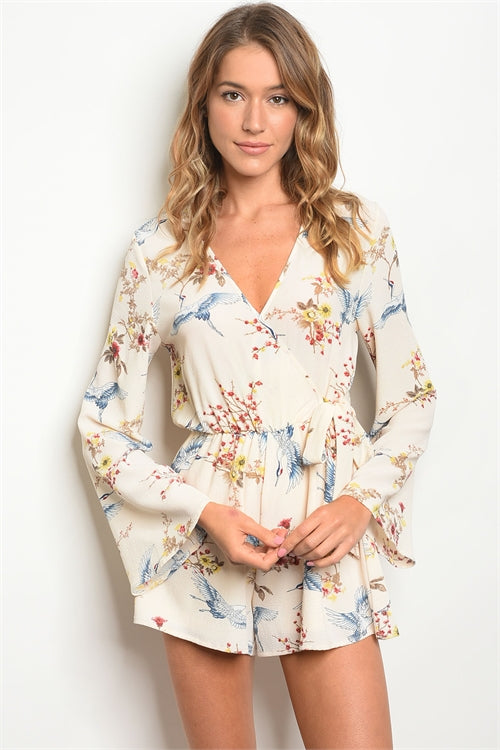 Flying Birds Cream Floral Romper Siin Bees
