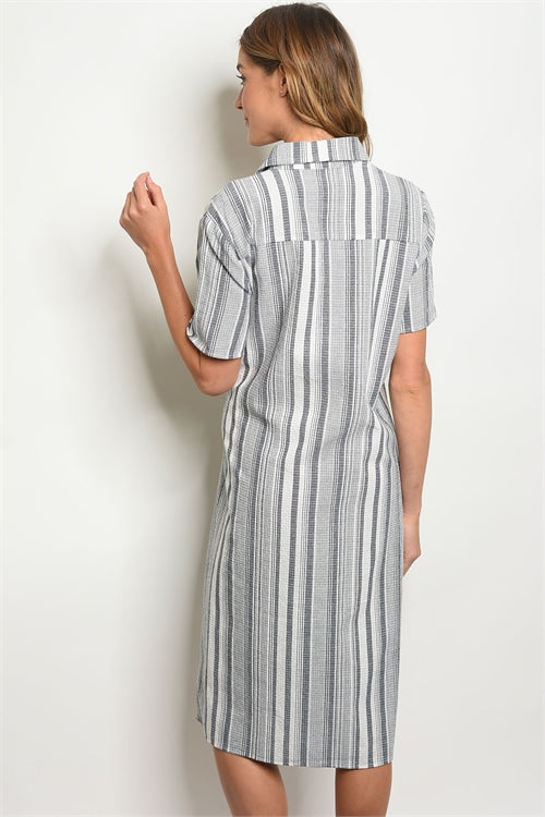 Lexi Short Sleeve Navy White Stripes Dress Siin Bees