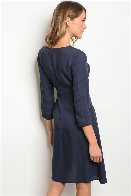 Ava 3/4 Sleeve Jersey Tunic Navy Dress Siin Bees