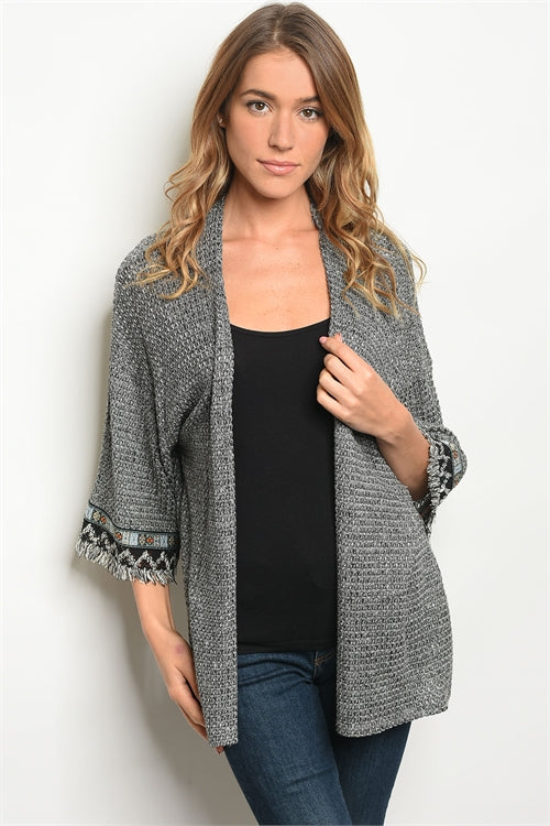 Dressy And Stylish Charcoal Open Front Cardigan Siin Bees