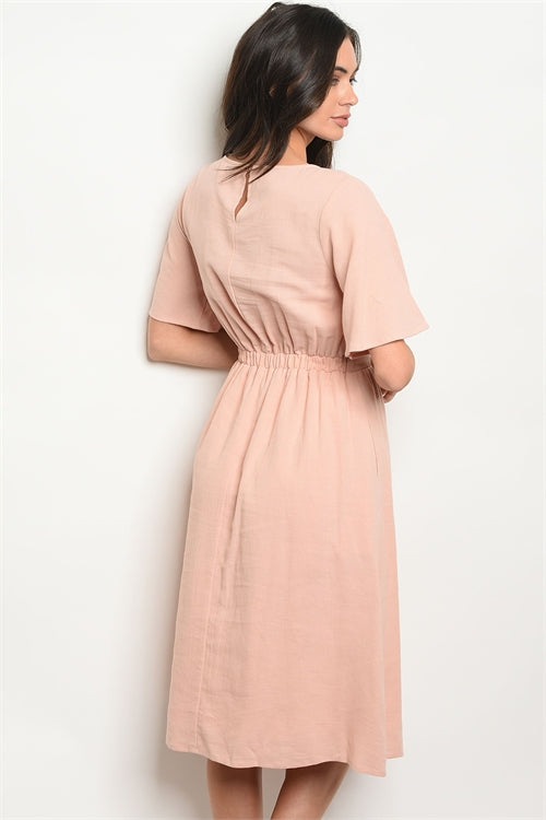 Short Sleeve Belted Blush Midi Dress Siin Bees