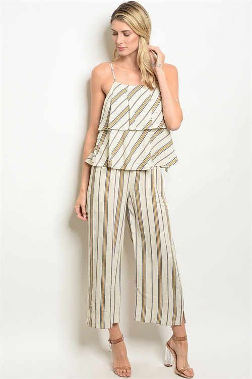 Cream Yellow Stripes Jumpsuit - Siin Bees