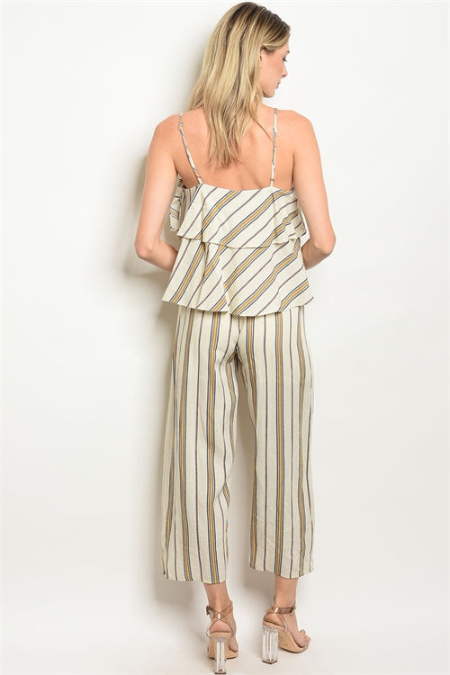 Cream Yellow Stripes Jumpsuit Siin Bees