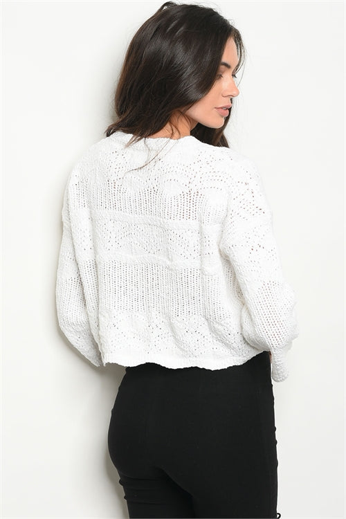 White Knitted Cotton Sweater - Siin Bees