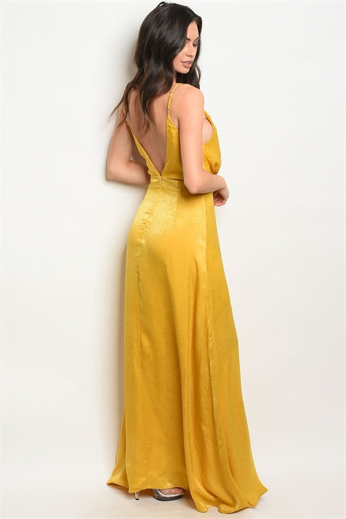 Mustard Satin Maxi Dress Siin Bees