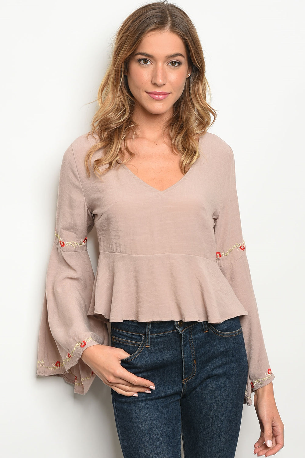 Bell Sleeve V-Neck Taupe Blouse Siin Bees