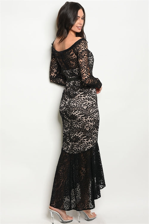 Melody Long Sleeve Black Nude Lace Evening Dress Siin Bees
