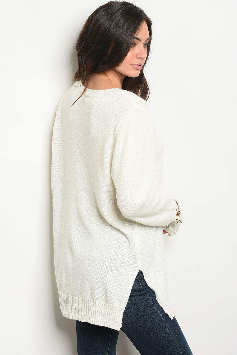 Long Sleeve Ivory Knit Sweater Siin Bees