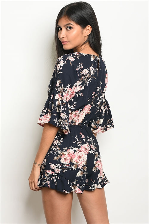 Navy Blue and Pink Floral Allover Romper Siin Bees