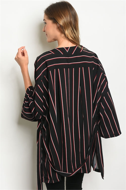 Chic Black Red Stripes Cardigan - Siin Bees