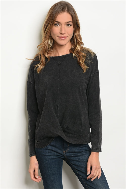 Black Wash Sweater Top - Siin Bees
