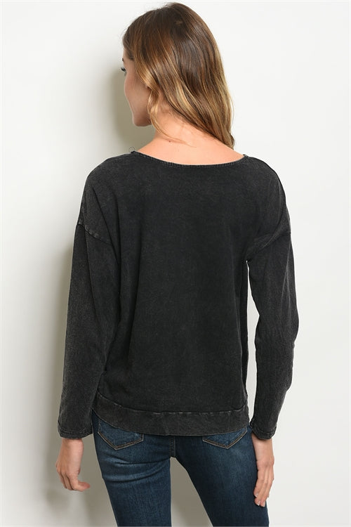 Black Wash Sweater Top Siin Bees