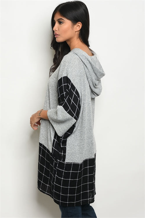 Gray Black Checkered Tunic Sweater Siin Bees