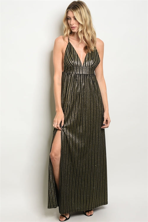 Black Gold With Shimmer Evening Dress - Siin Bees