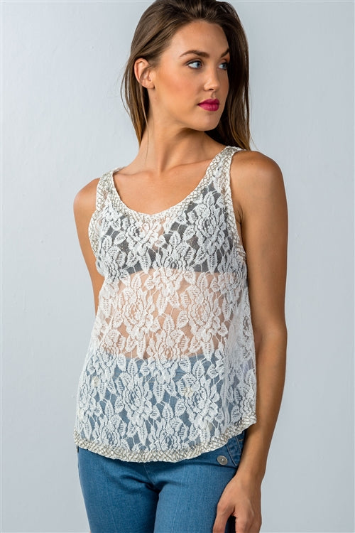 White Floral Lace Sleeveless Top Siin Bees