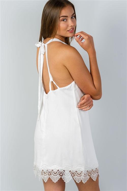 Mila White Low Back Loose Mini Dress - Crochet Hem - Siin Bees