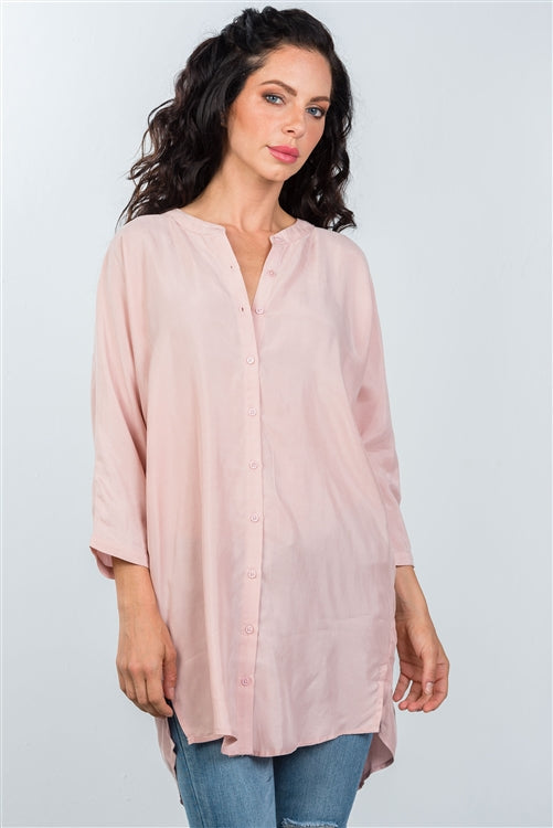 Rose Oversized Button Down Shirt Siin Bees