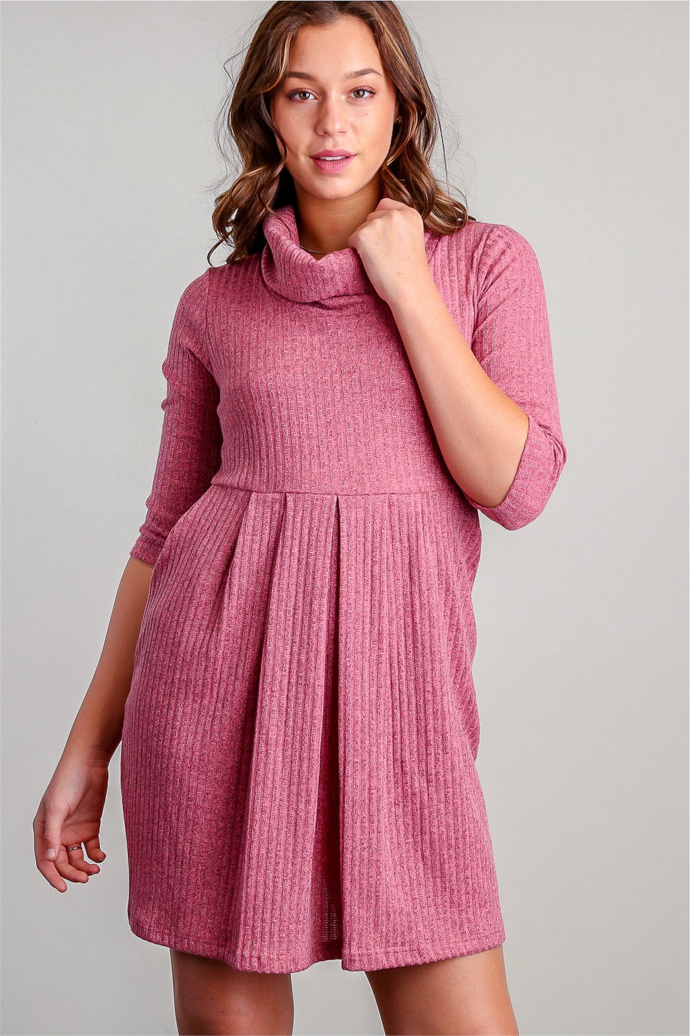 Pinky Ribbed Cowl Neck Sweater Dress Siin Bees