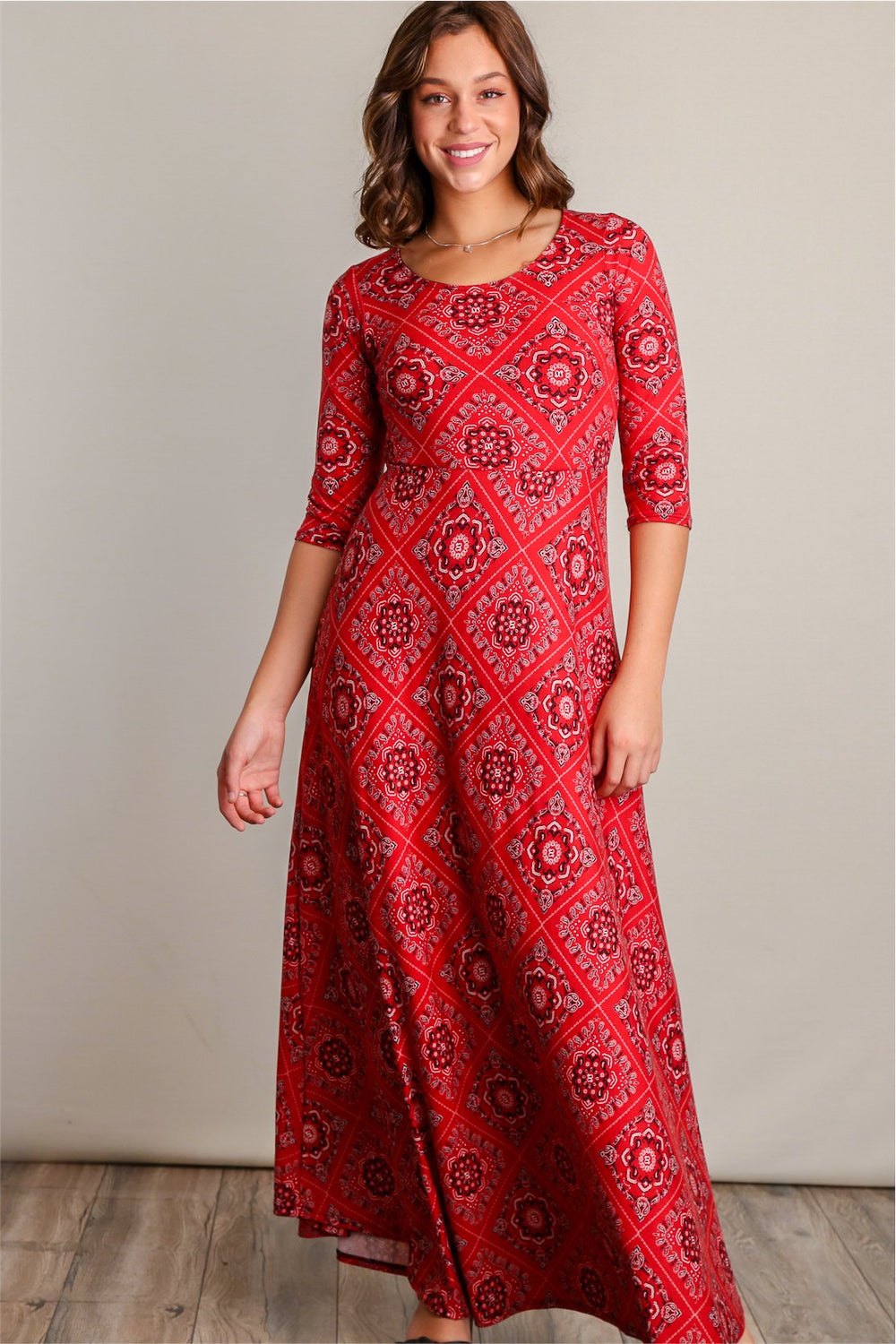 Fiona Rust Red Printed Fit & Flare Maxi Dress - Siin Bees
