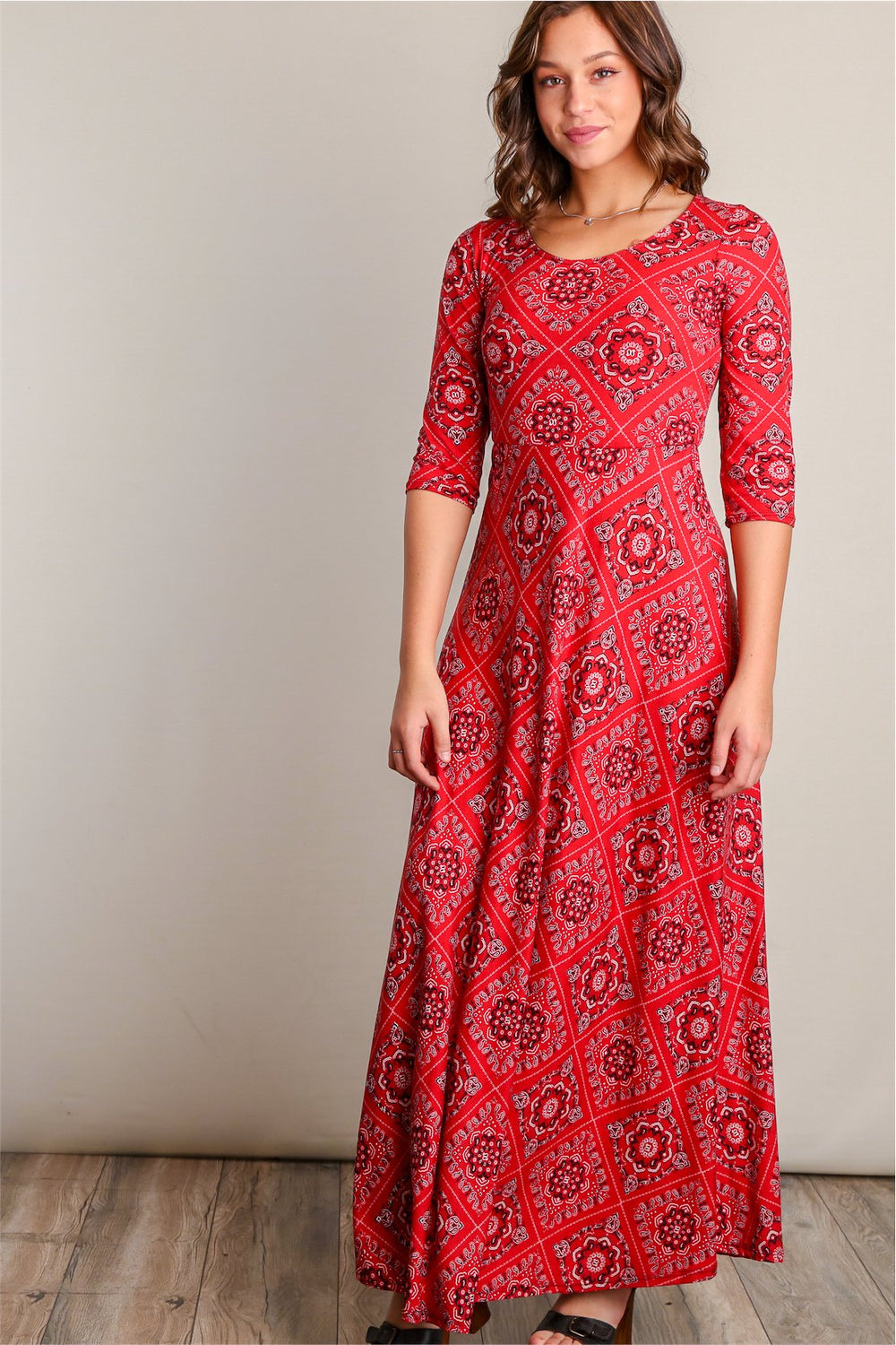 Fiona Rust Red Printed Fit & Flare Maxi Dress Siin Bees