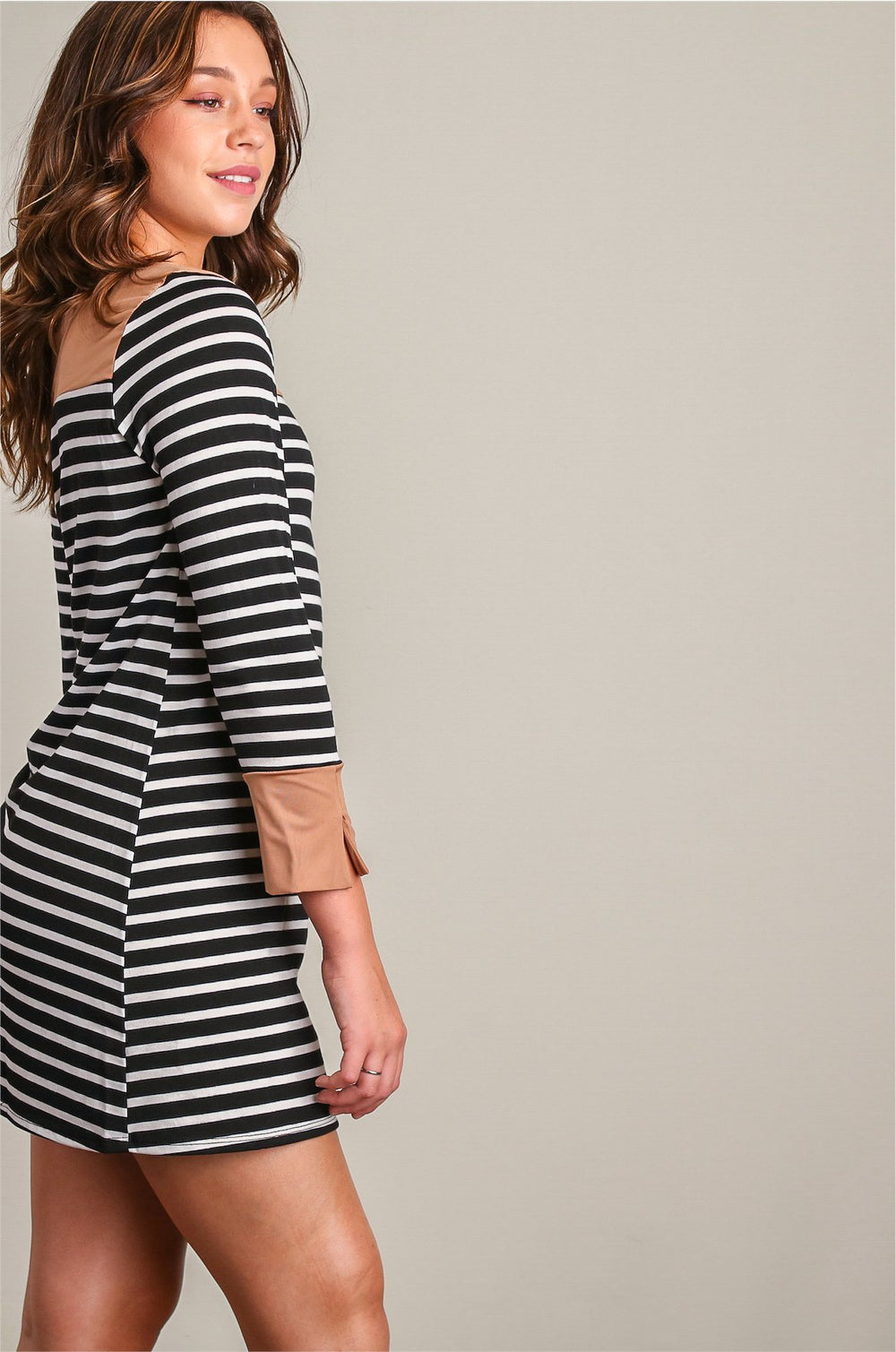 Jane Black Mini Stripes Dress Siin Bees