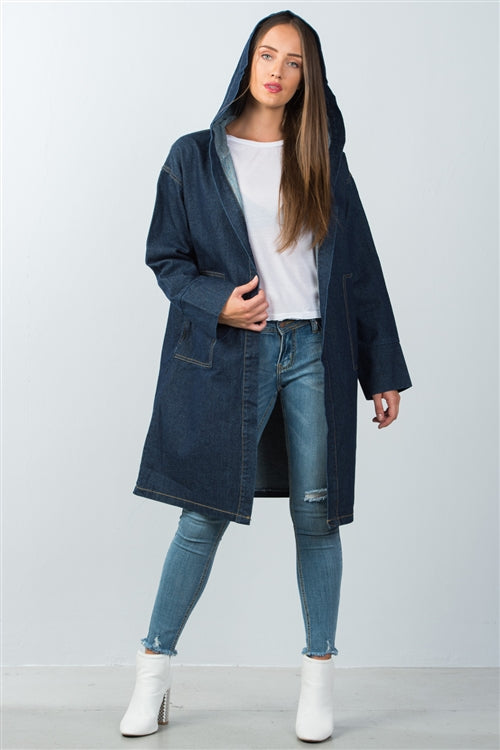 Longline Hooded Denim Coat Siin Bees